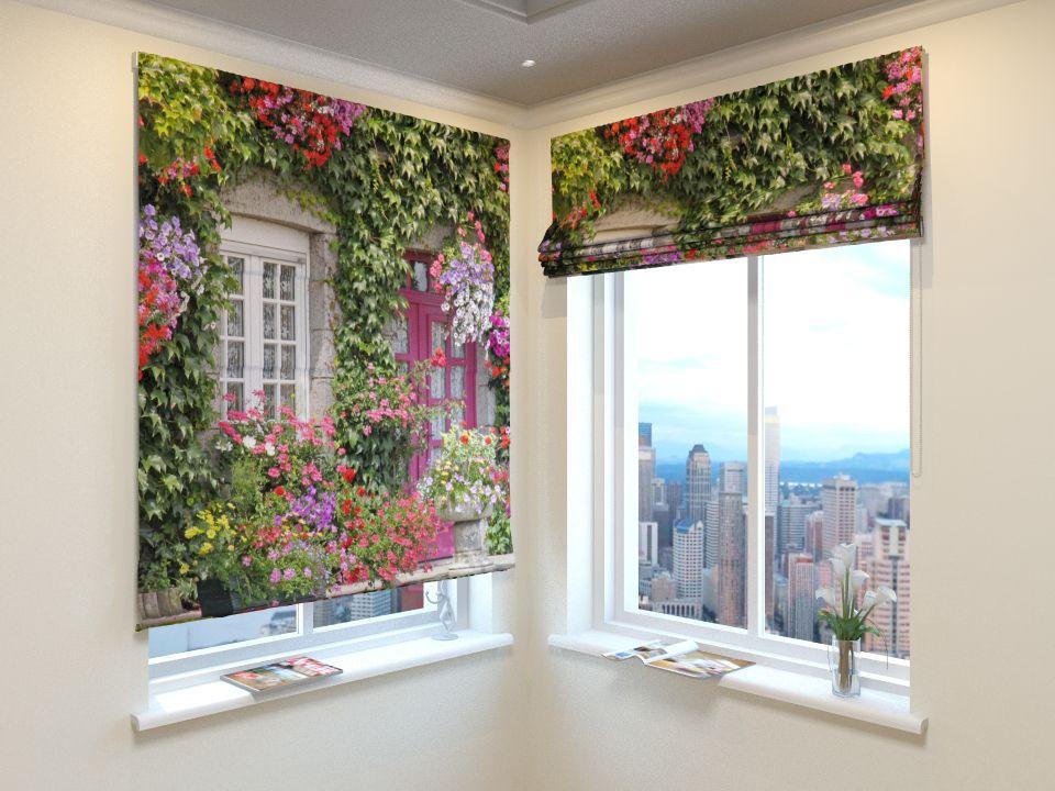 Римские фотошторы Дом в цветах от Рим Декор