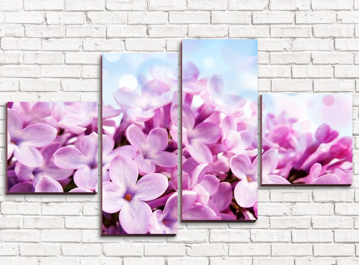 Модульная картина Цветы сирени арт. 4-1Цветы<br><br><br>Дополнительные картинки: None