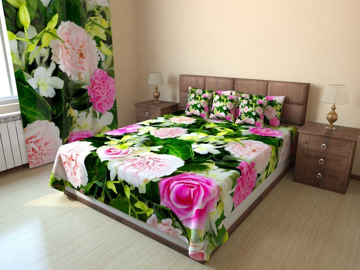 Фотопокрывало стеганое Гвоздики и розы (1) от Рим Декор