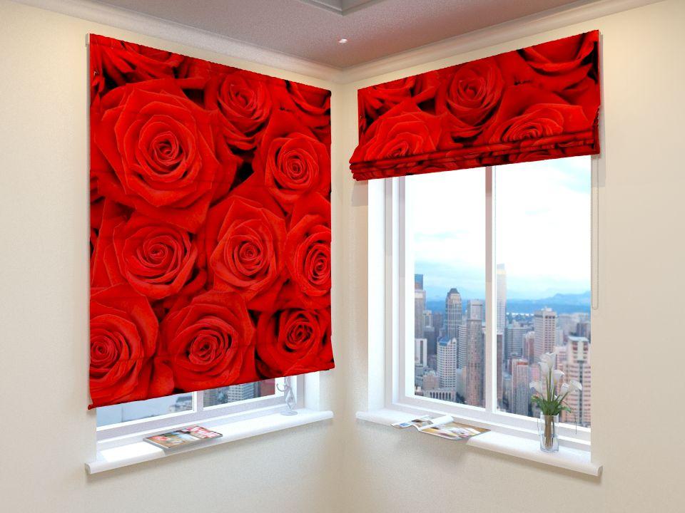 Римские фотошторы Красные розы от Рим Декор