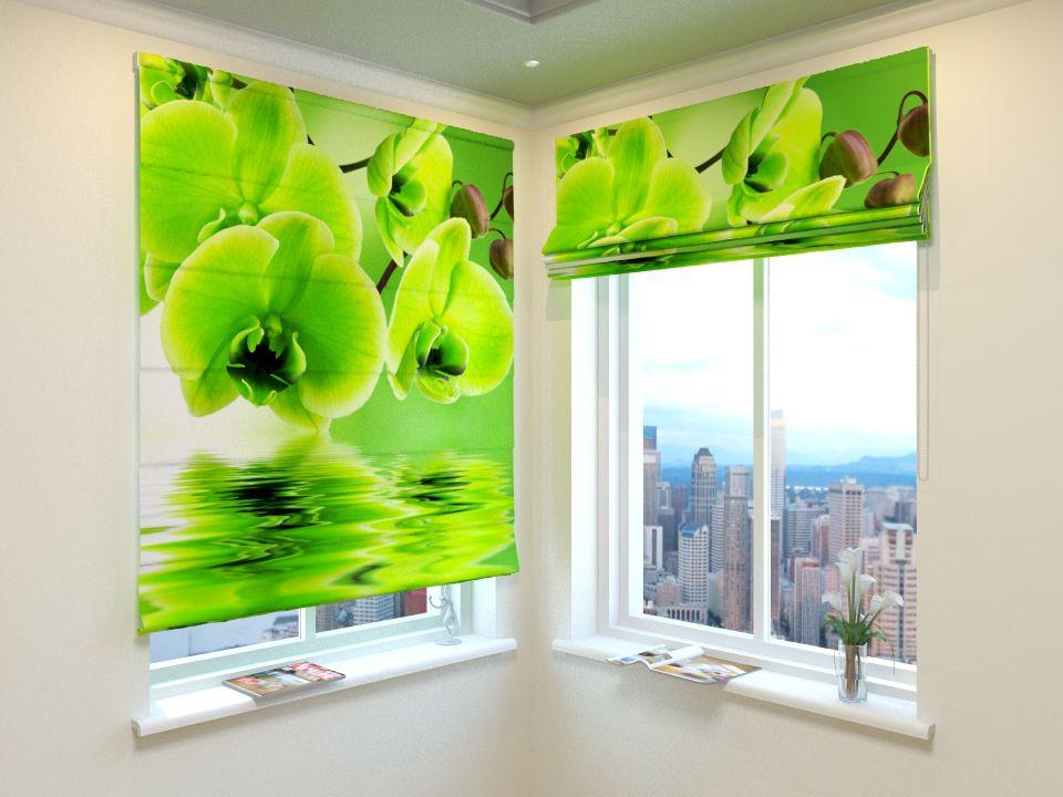 Римские фотошторы Зеленая орхидея от Рим Декор