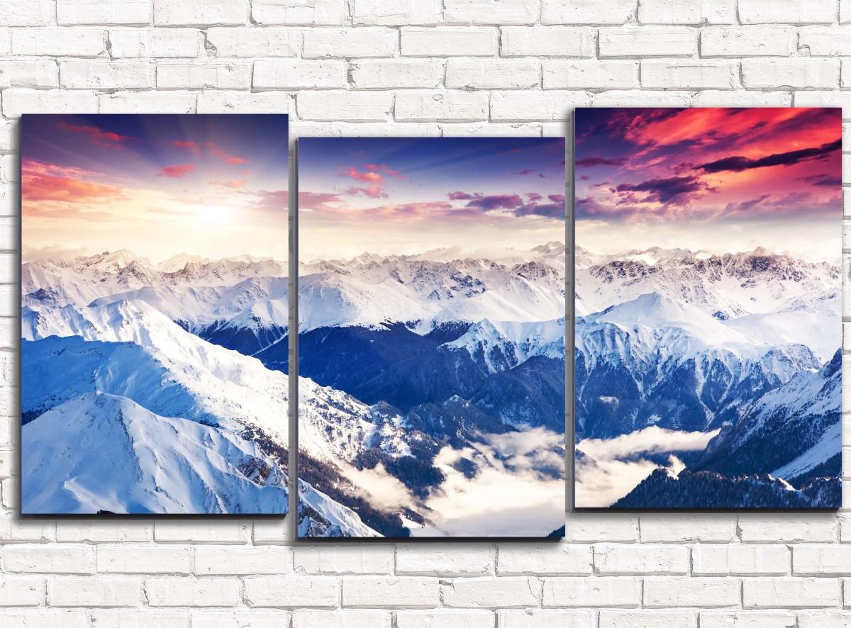 Модульная картина Снежные вершины арт. 3-1Природа<br><br><br>Дополнительные картинки: None